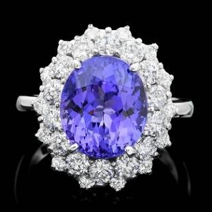 14k Gold 6.00ct Tanzanite 1.70ct Diamond Ring