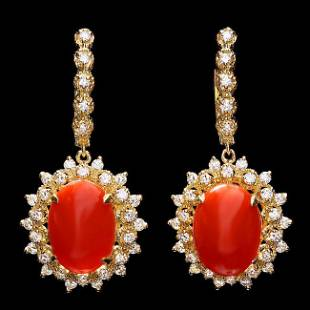 14k Gold 9.50ct Coral 1.60ct Diamond Earrings