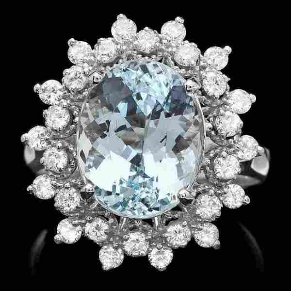 k Gold 4.92ct Aquamarine 0.79ct Diamond Ring
