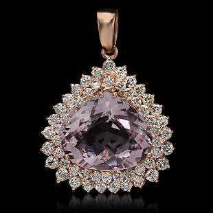 14K Gold 11.58ct Morganite 2.60ct Diamond Pendant