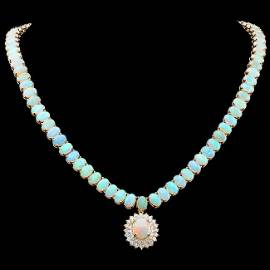14k Gold 36.6ct Opal 1.50ct Diamond Necklace