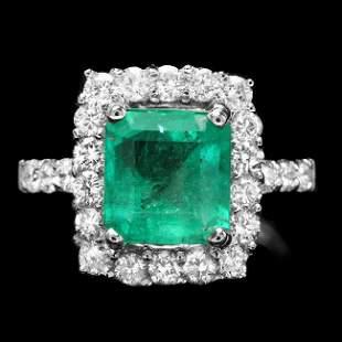 14k White Gold 1.50ct Emerald 1.15ct Diamond Ring