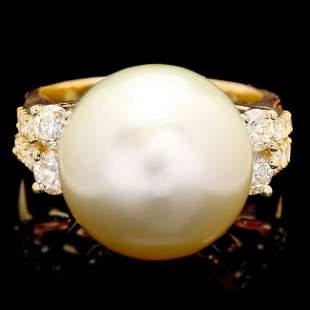 14k Yellow Gold 14mm Pearl 0.75ct Diamond Ring