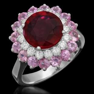 14K 2.78ct Ruby, 2.08ct Pink Sapphire, 0.61ct Diamond