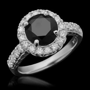 14K Gold 2.24ct Fancy Color Diamond & 0.72ct Diamond