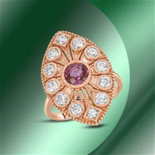 14K Gold 1.18cts Pink Sapphire & 1.22cts Diamond Ring