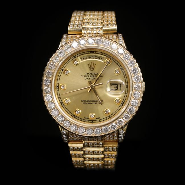 Rolex Day-Date 36mm Yellow Gold Mens Diamond Wristwatch