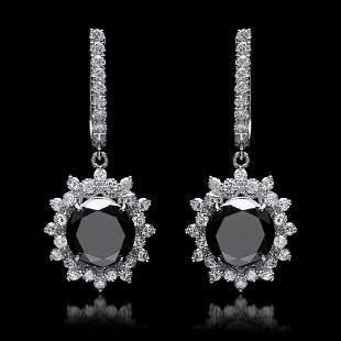 14K White Gold, 9.65cts Diamond Earrings