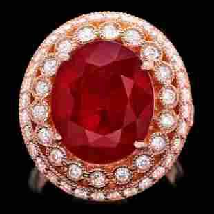 14k Rose Gold 11.00ct Ruby 1.40ct Diamond Ring