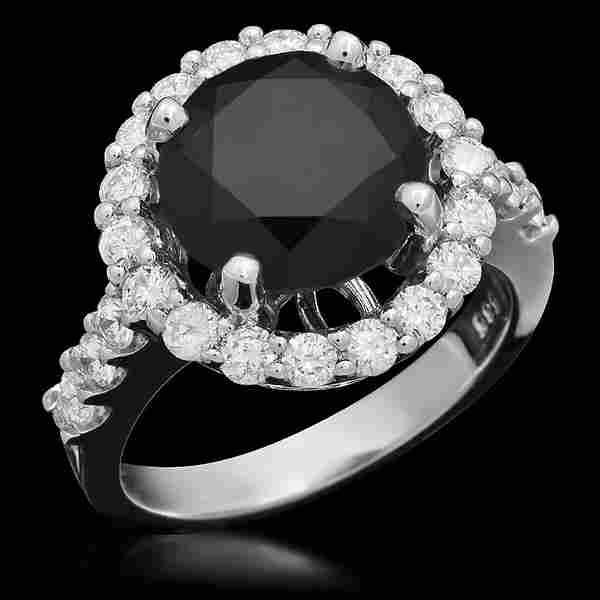 14K Gold 4.35ct Fancy Color Diamond 3.35ct Diamond Ring