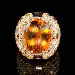 14K Gold 18.02ct Citrine, 1.40ct Orange Sapphire 1.25ct
