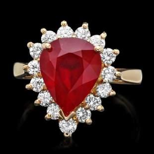 14k Yellow Gold 5.00ct Ruby 0.85ct Diamond Ring