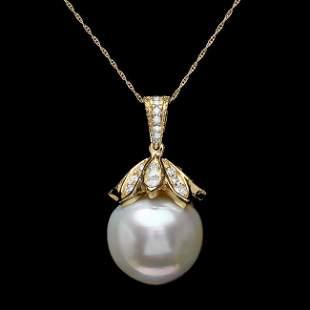 14k Yellow Gold 17mm Pearl 1.20ct Diamond Pendant