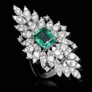 14K Gold 2.15ct Emerald 3.28ct Diamond Ring