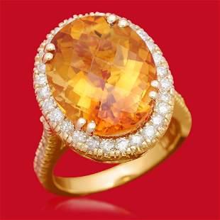 14K Gold 10.11ct Citrine 0.95ct Diamond Ring