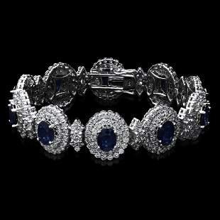 14K White Gold,23.00cts Sapphire & 14.89cts Diamond