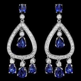 14k Gold 8ct Sapphire 1.10ct Diamond Earrings