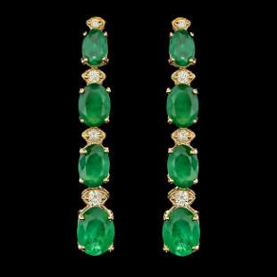 14k Gold 5.50ct Emerald 0.35ct Diamond Earrings