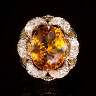 14K Gold 11.45ct Citrine 0.80ct Diamond Ring