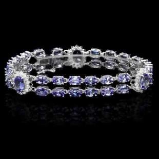 14k Gold 19ct Tanzanite 1.20ct Diamond Bracelet