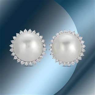 14K Gold 15mm South Sea Pearl & 1.21cts Diamond