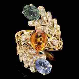 14k Yellow Gold 5ct Sapphire 1.00ct Diamond Ring