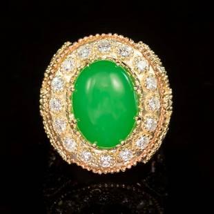 14K Gold 9.02ct Jadeite, 1.05ct Emerald 2.35ct Diamond