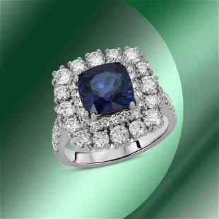 14K Gold 3.44cts Sapphire & 2.06cts Diamond Ring