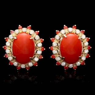 14k Gold 8.00ct Coral 0.90ct Diamond Earrings