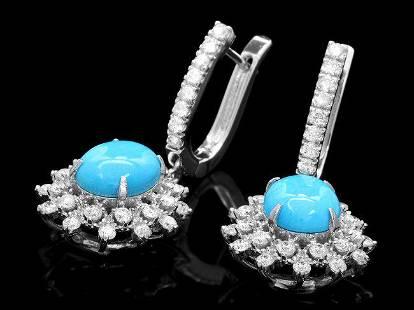 14k Gold 4.00ct Turquoise 1.70ct Diamond Earrings