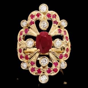 14k Yellow Gold 2.2ct Ruby 0.55ct Diamond Ring