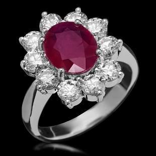 14K Gold 2.95ct Ruby & 2.20ct Diamond Ring