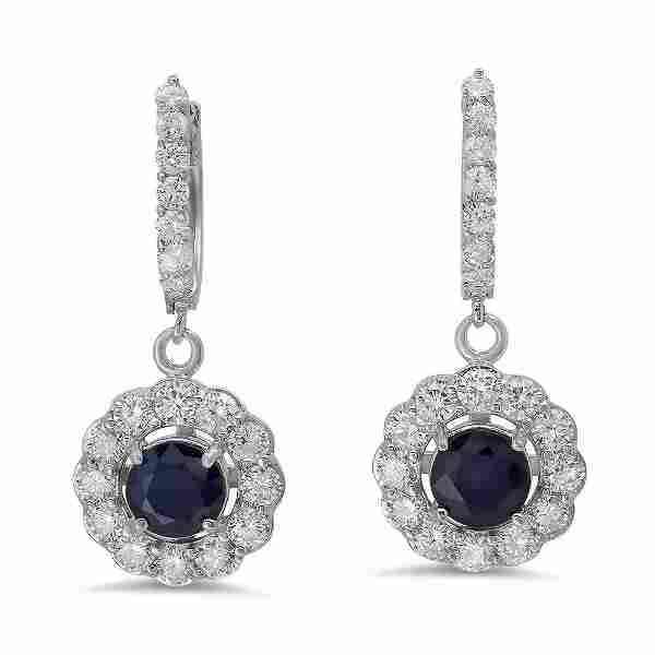 14K Gold 2.33ct Sapphire 2.25 Diamond Earrings