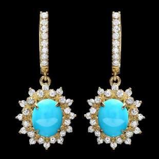 14k Gold 4.00ct Turquoise 1.50ct Diamond Earrings