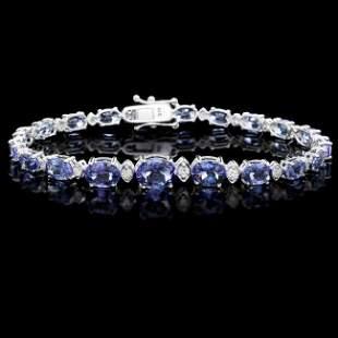 14k 12.50ct Tanzanite 0.80ct Diamond Bracelet