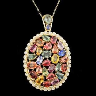14k Gold 17.50ct Sapphire 1.10ct Diamond Pendant