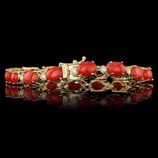 14k Gold 15.00ct Coral 0.80ct Diamond Bracelet