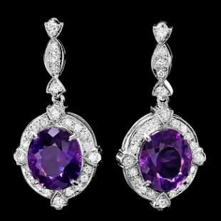 14k Gold 16ct Amethyst 1.70ct Diamond Earrings