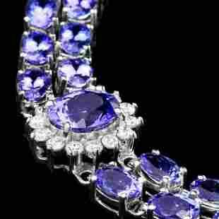 14k 21.88ct Tanzanite 1.66ct Diamond Bracelet
