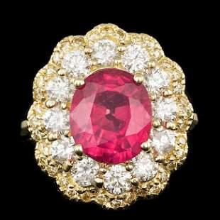 14k Yellow Gold 4.00ct Ruby 1.8ct Diamond Ring