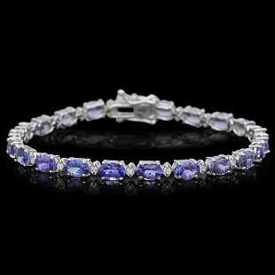 14K Gold 9.34ct Tanzanite 0.40ct Diamond Bracelet