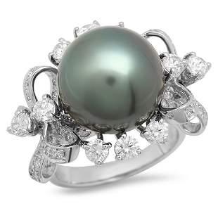 14K Gold 14mm Tahitian Pearl 2.28cts Diamond Ring
