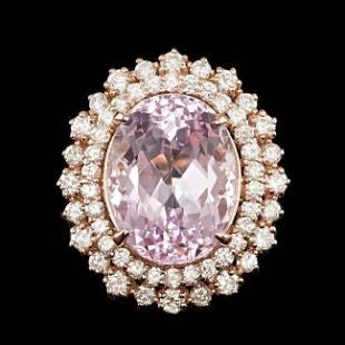 4k Rose Gold 13.50ct Kunzite 1.85ct Diamond Ring