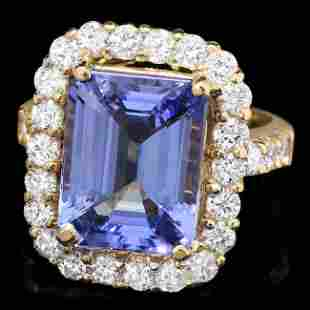 14k Gold 7.60ct Tanzanite 1.80ct Diamond Ring