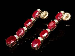 14k Gold 8.50ct Ruby 0.25ct Diamond Earrings