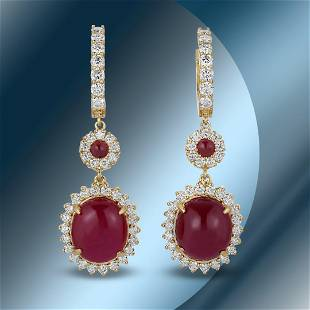 14K Gold 26.25cts Ruby & 3.26cts Diamond Earrings