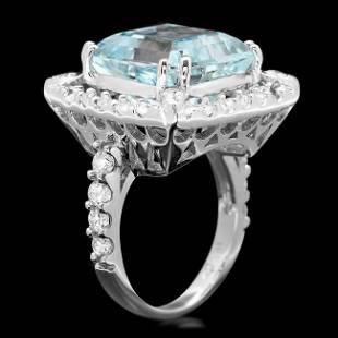 14k Gold 9.50ct Aquamarine 1.90ct Diamond Ring