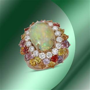 14K Gold 6.88cts Opal, 7.67cts Sapphire & 1.64cts