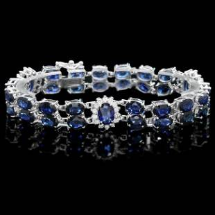14k Gold 30ct Sapphire 1.20ct Diamond Bracelet
