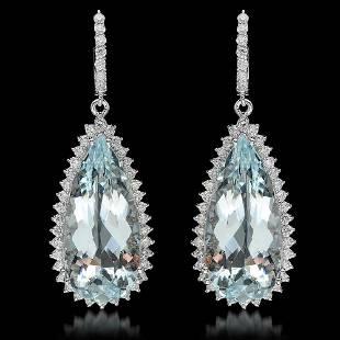 14K Gold 40.02ct Aquamarine & 2.41ct Diamond Earrings